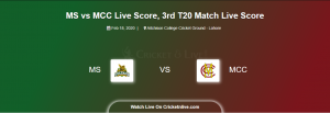 MS vs MCC Live Score, 3rd T20 Match, Multan Sultans vs MCC Live Score MCC Tour of Pakistan MS vs MAR Live