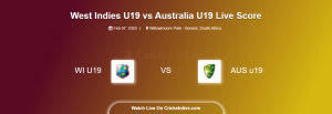 WI U19 vs AUS U19 Live Score, 5th Place Play-Off, West Indies U19 vs Australia U19